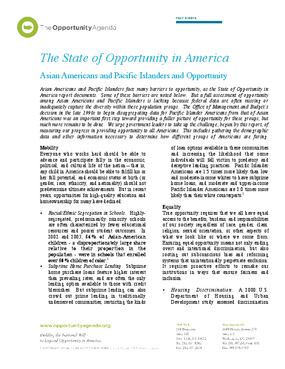 Asian Americans and Pacific Islanders and Opportunity