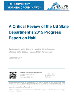 A Critical Review of the US State Department's 2015 Progress Report on Haiti