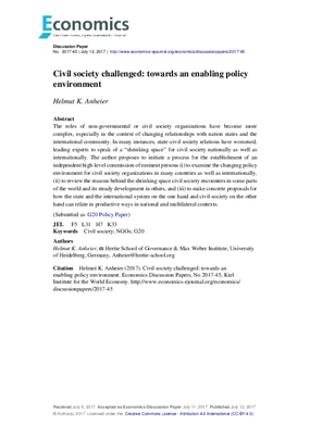 Civil Society Challenged: Towards an Enabling Policy Environment